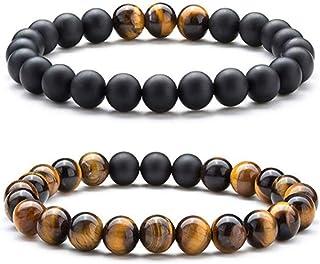 2pcs Men Women 8mm Tiger Eye Stone Matte Bright Agate Bracelet Volcano Lava Beads Bracelet Elastic Natural Stone Yoga Brac...