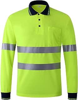 JKSafety Hi-Vis Wicking Reflective Safety Polo Shirt Long Sleeve ANSI Class 3