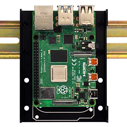 DIN-Schienenhalterung für Raspberry Pi 1A+ 1B+ 2B 3B 3B+ 4B Zero Arduino Uno Mega Mkr BeagleBone schwarz