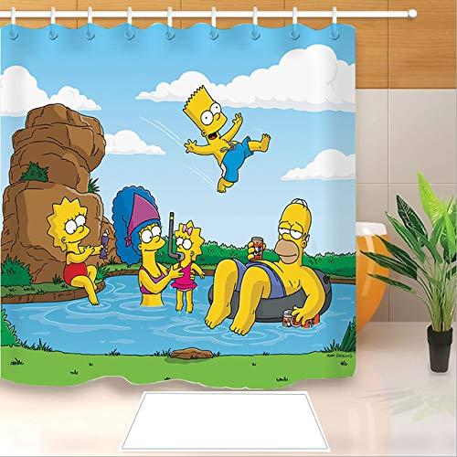 ZHANGSHUQI Hochwertiger Anime Die Simpsons 3D-Druck Duschvorhang Polyester Stoff Badvorhang Wasserdichter Haken Badvorhang