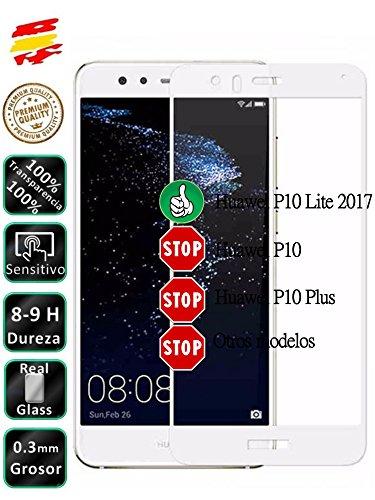 Movilrey Protector para Huawei P10 Lite Blanco Completo 3D Cristal Templado de...