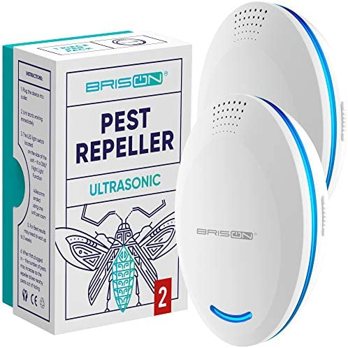 BRISON 2 Pack Ultrasonic Pest Repeller Plug in Control Electronic Insect Repellent Gets Rid product image