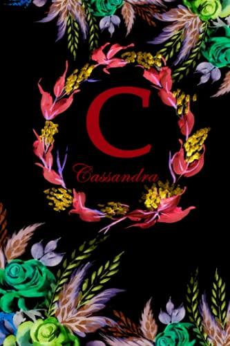 C: Cassandra: Cassandra Monogrammed Personalised Custom Name Daily Planner / Organiser / To Do List - 6x9 - Letter C Monogram - Black Floral Water Colour Theme