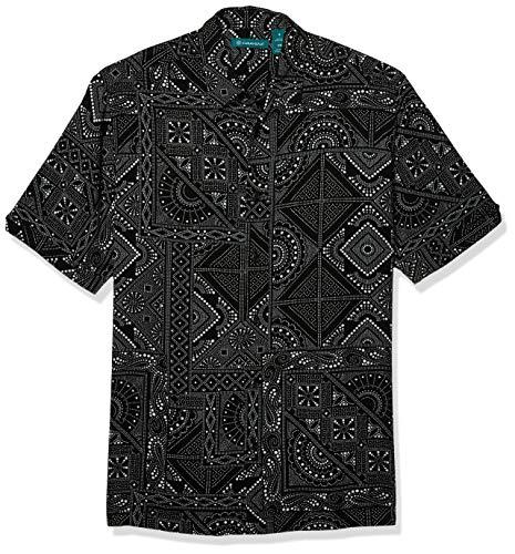 Cubavera Men's Bandana Print Short Sleeve Shirt, Jet Black, Medium