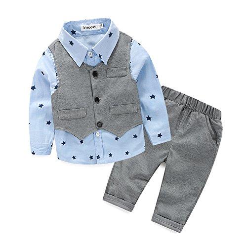 Kinder Baby Kleinkind Jungen Kleider Coat Kleidung Gentleman Baumwolle mit Ärmeln Herbst Kleidung des Babys Taufe Hochzeit Weihnachten Sakkos Anzüge kariertes Hemd spielanzug(0-24M), A Blau, 80(6-12M)