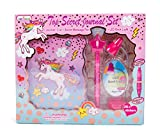 """Hot Focus Unicorn Secret Diary with LED Book Light, Invisible Ink Pen and Sticker Set – 6"""" Journal Notebook with 100 Double Sided Lined Pages for Kids"""