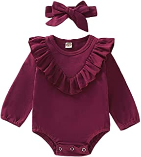 Weixinbuy Toddler Baby Girl's Ruffle Flower Print Long Sleeve Romper Clothes Bodysuit with Headband