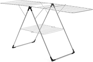ZKKAW Winged Folding Clothes Airer, Drying Space Laundry Drying Rack Multifunctional Air Dryer Stainless Steel Tubes Use for Airing Clothing Indoors