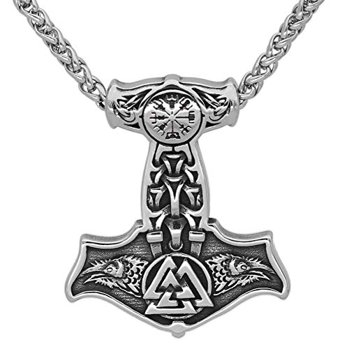 GuoShuang Nordic Viking Stainless Steel Thor Mjolnir Odin Raven Valknut Vegvisir Pendant Necklace with Valknut Gift Bag?