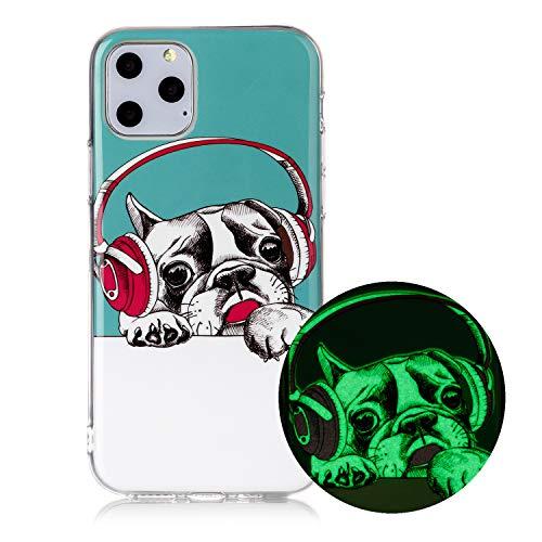 Miagon Leuchtend Luminous Hülle für iPhone 12,Fluoreszierend Licht im Dunkeln Handyhülle Silikon Case Handytasche Stoßfest Schutzhülle,Headset Hund