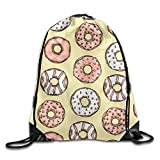 uykjuykj Bolsos De Gimnasio,Mochilas,Donut Pattern Basic 100% Polyester Drawstring Backpack Easily Wash Secure Travel Bag 16x14 Inch Men Women Lightweight Unique 17x14 IN