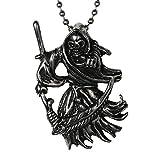 Men's 316l Stainless Steel Pendant Necklace Silver Black Death Grim Reaper Skull Scythe +24 Inch Chain