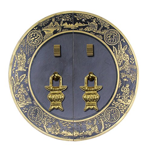 Encargarse de,Manija de los muebles Herrajes de cobre Manija de puerta Manija de bronce antigua Chino mango Cerradura de la puerta Instalación del tornillo de la placa de cara gabinete-E