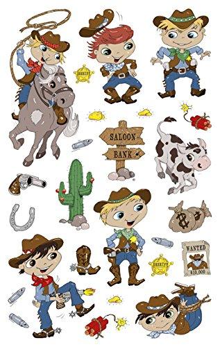 AVERY Zweckform 53223 Papier Sticker, Cowboy, 50 Aufkleber