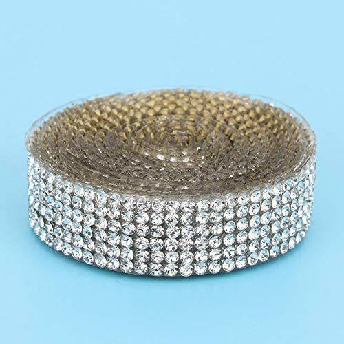 Banda de diamantes de imitación, hermoso y exquisito para accesorios.(Silver 6 rows 1 meter, 12)