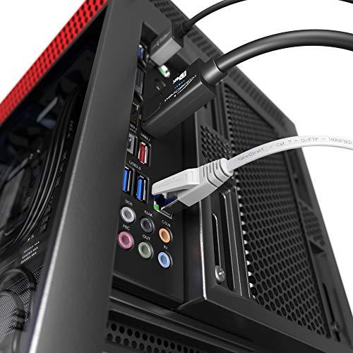 KabelDirekt – 5 m – Flaches Ethernet-Kabel & LAN-Kabel & Netzwerkkabel (Cat7, 10 Gbit/s, RJ45-Stecker, besonders flexibel, zum Verlegen geeignet, für maximale Glasfaser-Geschwindigkeit, weiß)