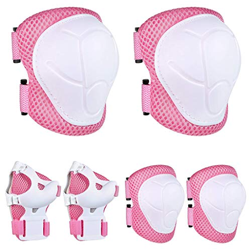 Kids Protective Gear 6 in 1 Set - Knee and Elbow Pads with Wrist Guards&Adjustable Bands for Kids 8-14 Years Rollerblade Roller Skates Cycling BMX Bike Skateboard Skating Scooter Riding Sports (Pink)