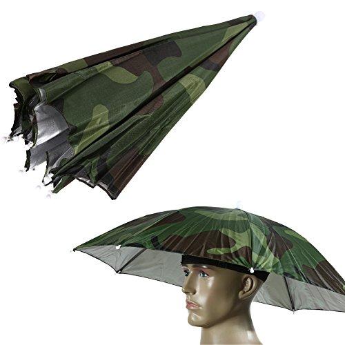 Chinatera, ombrello a cappello con fascia elastica, per proteggere da sole e pioggia, per pesca e campeggio, Camo