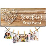 Cocomong Grandma's Brag Board Picture Frame, Gifts for Grandma from Grandchildren, Grandkids Picture Board Grandmother Birthday Gifts Photo Holder 13.5 X 5.5 Inch with 6 Clips