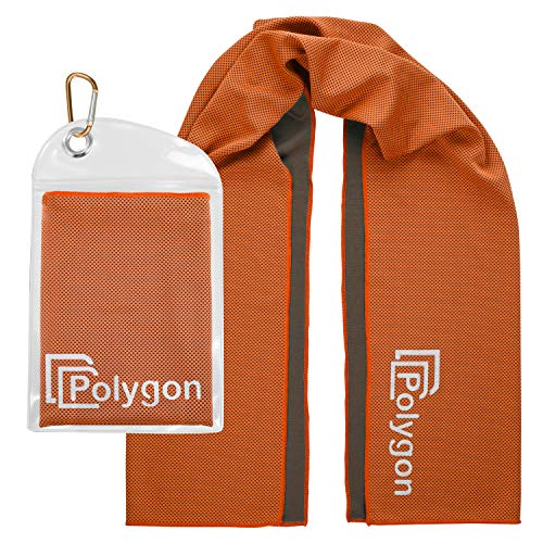 """Polygon Cooling Towel, Microfiber Ice Sports Towel, Instant Chilling Neck Wrap for Sports, Workout, Running, Hiking, Fitness, Gym, Yoga, Pilates, Travel, Camping & More, 40"""" x 12"""", Orange"""