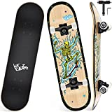 Skateboard Completo, Funxim Tabla de Skateboard 31 x 8 Pulgadas 4 Ruedas 7 Capas Madera de Arce Doble Patada Rueda Completa para Monopatín Skateboard para Principiantes Jóvenes Niños (Cráneo 2)