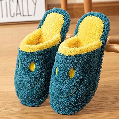 DHYF Zapatillas de Invierno para Interior y Exterior,Zapatillas de Felpa Smile, cálidas Zapatillas Antideslizantes-Azul_39-40,Pantuflas cálidas Pantuflas Ligeras y Suaves