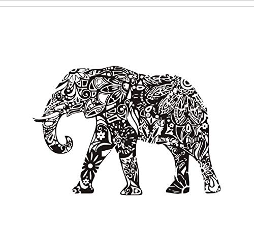 hfwh muurstickers, creatieve persoonlijkheid zwart India Santa Elephan muursticker, thuissticker binnen, kaart stickers muurstickers, Decal Art Poster 83 x 57 cm