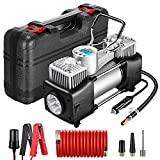 Yome Portable Dual Cylinder Air Compressor Pump, 12V Heavy Duty Portable Air Pump with LED...