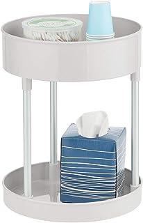 mDesign Organizador de cosméticos – Estante de baño con dos niveles y plato giratorio – Estantería de ducha perfecta para guardar cosméticos o accesorios de baño – gris claro y plateado