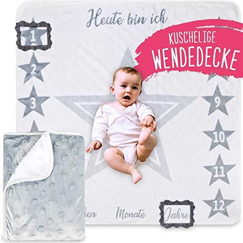 2 Seitige graue Baby Meilenstein Wende Decke mit Sternen, Geschenk zur Geburt
