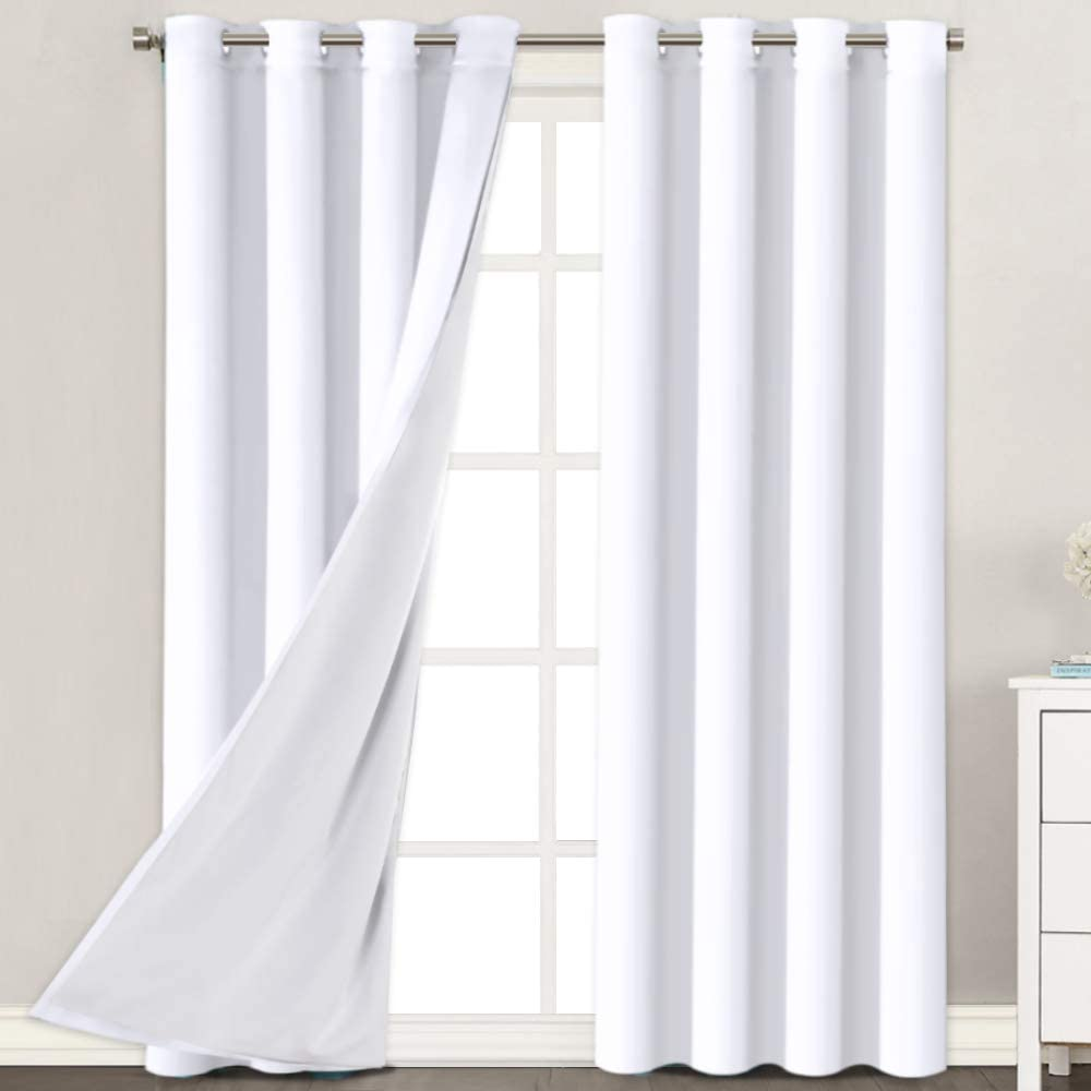H.VERSAILTEX Now on sale White Blackout Curtains 96 Inches L 2 Long Layers free