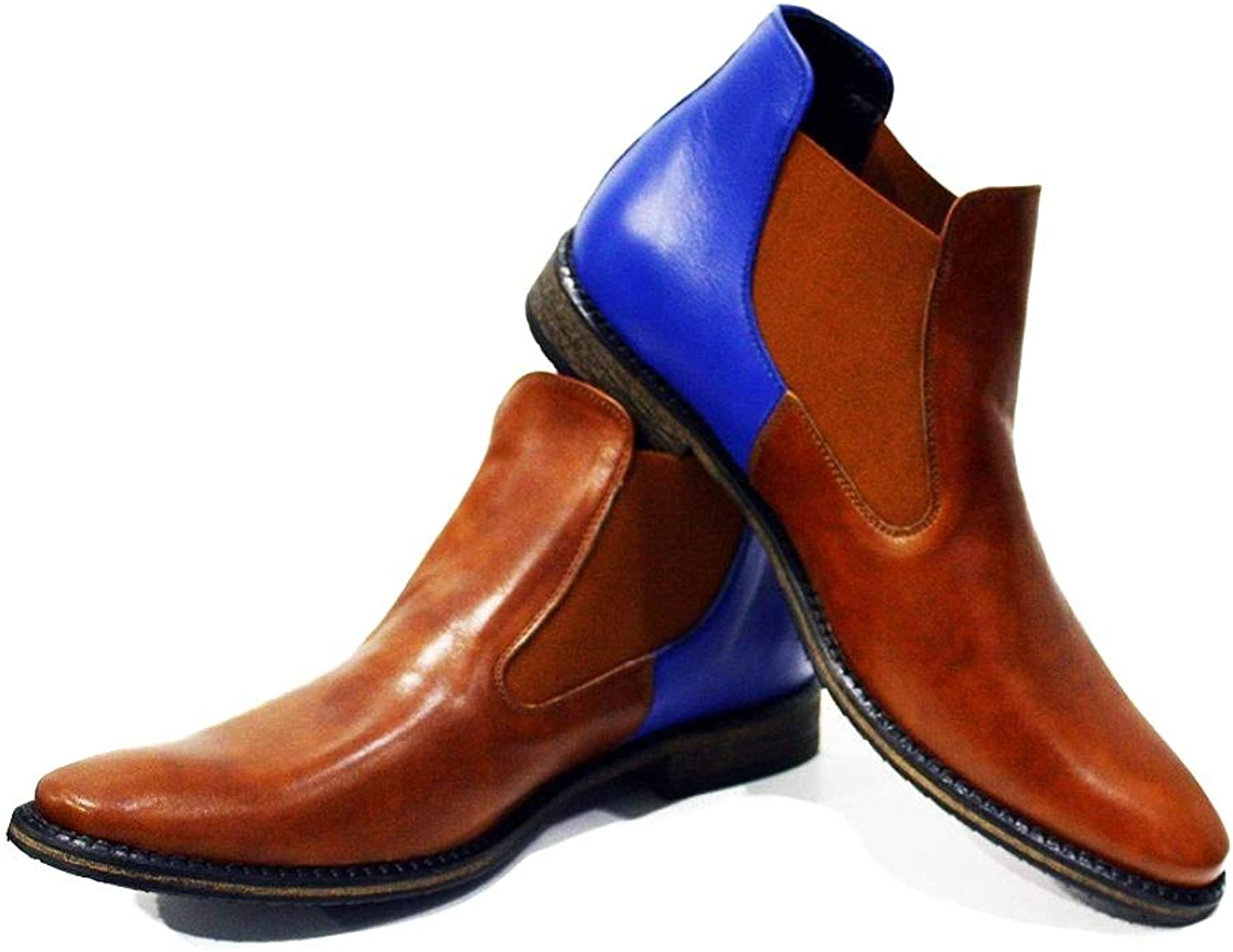 Peppeshoes Modello Ceglie Messapica - Handmade Italian Leather Mens color Brown Ankle Chelsea Boots - Cowhide Smooth Leather - Slip-On