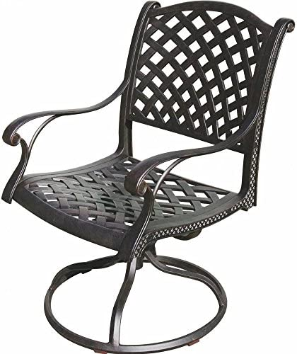 Best K&B PATIO LD1031-11 Nassau Swivel Rocker Chair, Antique Bronze