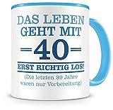 Samunshi® Tazza con scritta divertente per 40° compleanno, uomo donna o nonno, idea regalo per il 40° compleanno (40 anni 300 ml azzurro/azzurro)