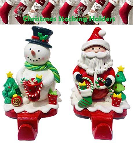 SHATCHI Kerst Stocking Houder Hanger Zware Gewogen Haak Stand Tafel Decoraties Keramische Kerstmis Ambachten Tafelblad Santa Snowman Thuis Mantel/Open Haard Décor 2 stks Set, Multi-Kleur