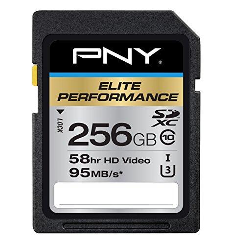 PNY 256GB Elite Performance Class 10 U3 SDXC Flash Memory Card - 95MB s read, Class 10, U3, 4K UHD, Full HD, UHS-I, Full Size SD
