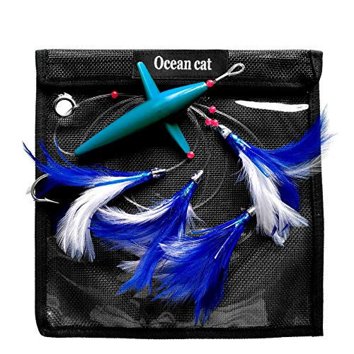 OCEAN CAT 5 Pcs/Set 5 inches Daisy Chain Trolling Lures with Brid Feather Teaser Saltwater Offshore Big Game Trolling Lure Bag for Marlin Tuna Mahi Dolphin Durado Wahoo Free Mesh (Blue&White)