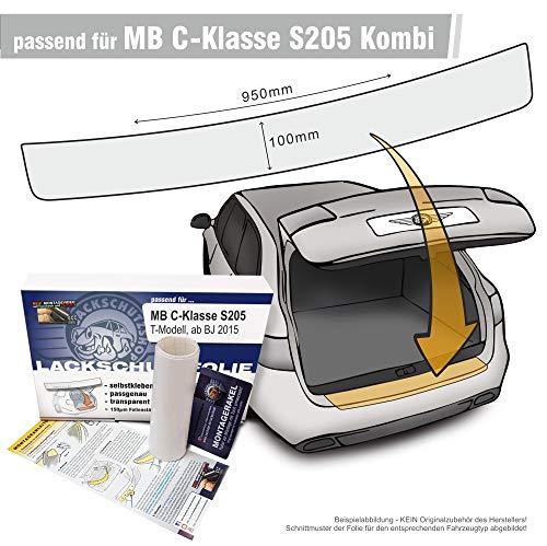 Passform Lackschutzfolie als Selbstklebender Ladekantenschutz (Autofolie und Schutzfolie) transparent 150µm - passgenau für Mercedes Benz C-Klasse S205 Kombi T-Modell