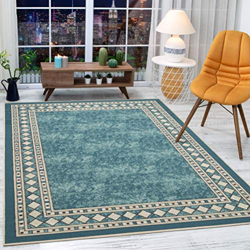 Antep Rugs Alfombras Modern Bordered 3x5 Non-Skid (Non-Slip) Low Profile Pile Rubber Backing Indoor Area Rugs (Blue, 3