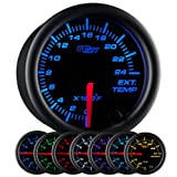 GlowShift Black 7 Color 2400 F Pyrometer Exhaust Gas Temperature EGT Gauge Kit - Includes Type K Probe - Black Dial - Clear Lens - for Car & Truck - 2-1/16' 52mm