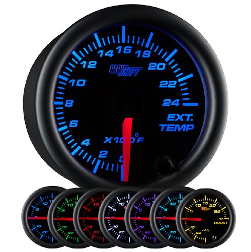 GlowShift Black 7 Color 2400 F Pyrometer Exhaust Gas Temperature EGT Gauge Kit - Includes Type K Probe - Black Dial - Clear Lens - for Car & Truck - 2-1/16