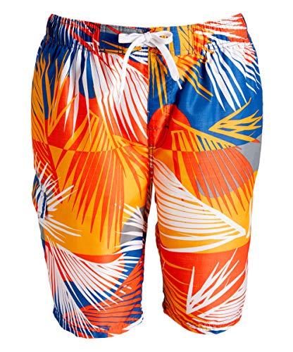 Kanu Surf Men's Barracuda Swim Trunks (Regular & Extended Sizes), Tahiti Denim/Orange, Large