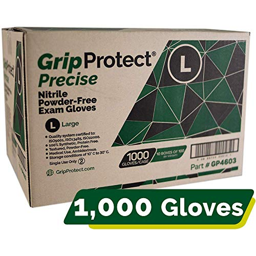 GripProtect Precise Nitrile Exam Gloves, Fentanyl Resistant, Chemo-Rated 1000/cs (Large)