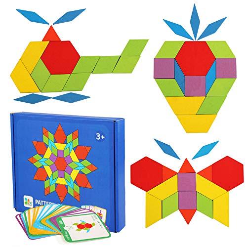 LEADSTAR Tangrams Enfant Blocs en Bois Puzzles 155 PCS Puzzles en Bois Blocs de Modèle en Bois Puzzle de Forme Géométrique Jeux Jouets pour Les Enfants avec 24 Cartes de modèle