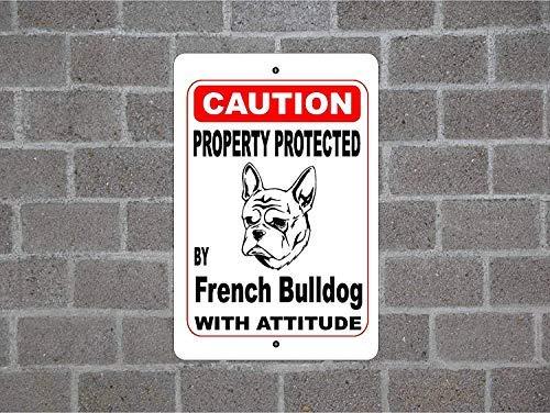 aqf527907 Eigendom Beschermd door Franse Bulldog Guard Hond Waarschuwing Yard Hek Ras Metalen Aluminium Sign, Metalen bord 8x12 Inches