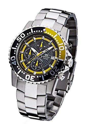 FIREFOX Zion FFS17-109 schwarz/gelb Herrenuhr Armbanduhr Chronograph massiv Edelstahl Sicherheitsfaltschließe 10 ATM Water Resistant