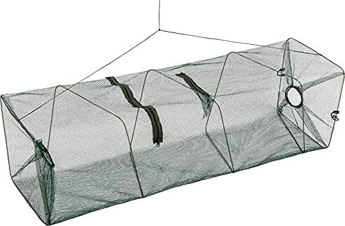 normani Köderfischreuse XXL Aalreuse 100 cm Krebsreuse Fischreuse Reuse Fischernetz mit Futternetz und 2 Öffnungen 100 cm x 28 cm x 28 cm