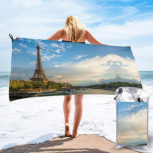 FLDONG Toalla de secado rápido sobre la Torre Eiffel y el río Sena París impresión de microfibra, ultra suave y compacta, adecuada para camping, gimnasio, playa, hogar, 81.5 x 163 cm