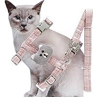 "Jecikelon 小さな猫用ハーネスとリーシュセット かわいいクマの脱出防止 調節可能な猫用ハーネスと猫用リーシュ付き ウォーキング用 XS:Neck 7.1-10.6"",Chest 8.6-13.7"" ピンク"