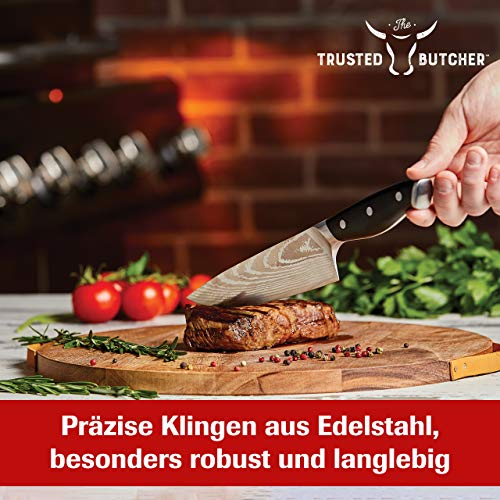 Mediashop Trusted Butcher Messer Set – hochwertiges Profi Kochmesser Set – ultrascharfe Klingen in Metzger-Qualität – inklusive Bratenthermometer – 4-TLG.   Versand Edition in neutraler Verpackung - 5